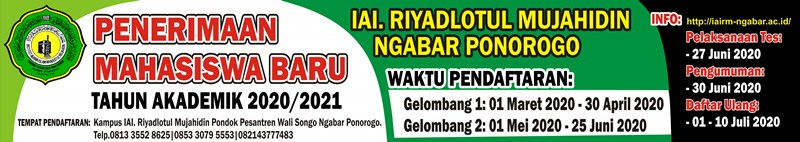 Formulir Pendaftaran Calon Mahasiswa Baru Iairm Ngabar Ponorogo Jawa Timur Tahun Akademik 2021/2022