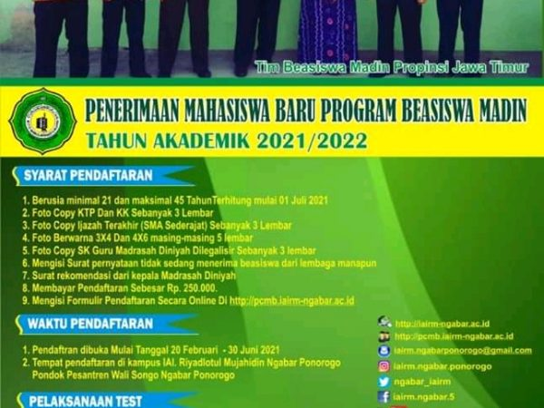 BEASISWA MADIN TAHUN AKADEMIK 2021-2022