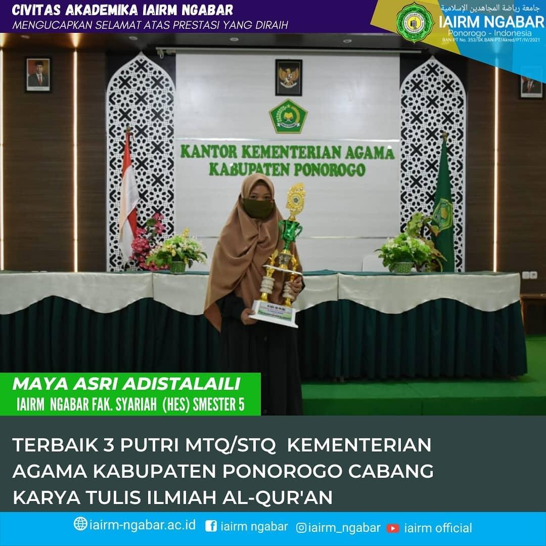 Predikat Terbaik 3 Putri cabang karya tulis ilmiah Al-Qur'an MTQ/STQ Tingkat Kabupaten